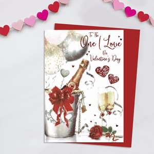 One I Love Valentine's Day Card Alongside Its Red Envelope
