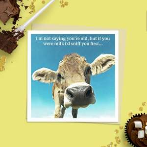 Beautiful Photographic Funny Card Showing A Cow With The Caption: ' I'm Not Saying You're Old, But If You Were Milk I'd Sniff You First..' Blank inside For Own message And With Stone Coloured Envelope