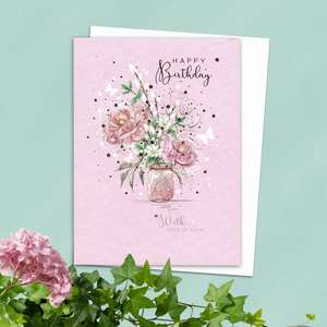 Floral Ladies Birthday Card Alongside Its White Envelope