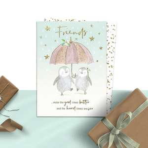 Friends Make The Good Times Better Birthday Card Alongside its White And Gold Envelope