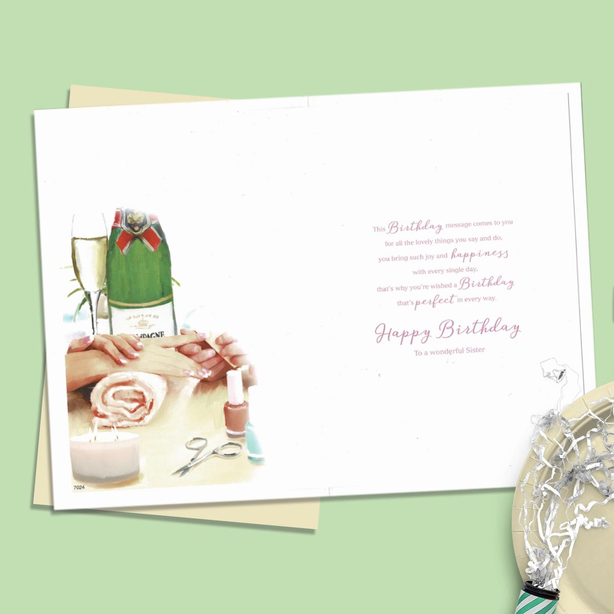 Inside Of Sister Birthday Card Showing Layout And Printed Text