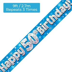 Age 50 Blue And Silver Holographic Birthday Banner Displayed