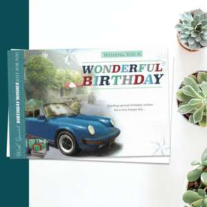 Wishing You A Wonderful Birthday Embossed Card Featuring A Blue Convertible Car. Complete With White Envelope