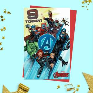 Marvel Age 9 Birthday Card Sitting On A Wooden Display Shelf