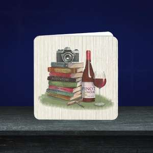 Pizazz Range Blank Card featuring Red Wine, Books And Camera. With Added Gold Foil Detail And Light Blue Envelope