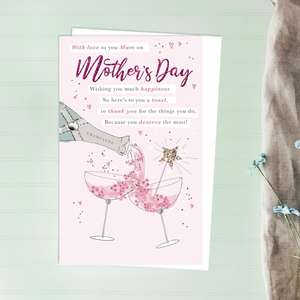 Champagne Toast Mother's Day Design Alongside Its White Envelope