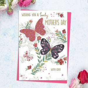 ' Wishing You A Lovely Mother's Day With Love' Featuring Colourful Butterflies And Flowers. With Added Gold Foil Detail And Bright Pink Envelope