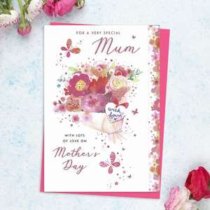 ' For A Very Special Mum With Lots Of Love On Mother's Day' Featuring A Bouquet Of Colourful Flowers And Butterflies In Flight. With Added Pink Foil Detail And Bright Pink Envelope