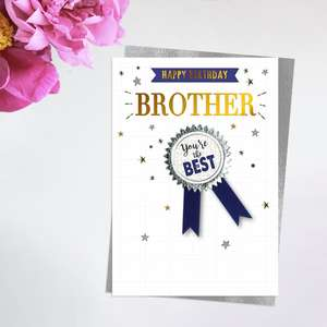 Brother Birthday Card Alongside Its Silver Envelope
