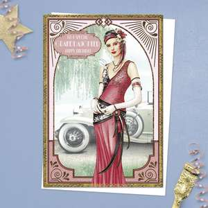 ' To A Special Granddaughter Happy Birthday' Card Featuring An Elegant Lady In Front Of A Vintage Car! From The Art Deco Range By Debbie Moore. With Added Gold Foiling Detail And White Envelope
