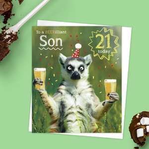 Son 21 Birthday Card Alongside Its White Envelope