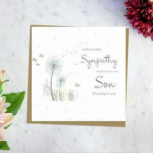 ' With Heartfelt Sympathy On The Loss Of Your Son Thinking Of You' Card Featuring A Dandelion Blowing In The Wind With Surrounding Butterflies. Complete With Brown Envelope And Blank Inside for Own Message