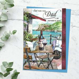 'Just For You Dad On Father's Day' Card Featuring Red Wine, A Coastal Location With Moped Standing By! Complete With Gold Foil Lettering And Blue Envelope