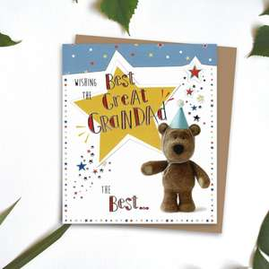 Great Grandad Barley Bear Birthday Card Alongside Its Kraft Envelope