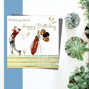 ' Wishing You A Happy Birthday' Card From The Rush Design Domino Range. Featuring A Golfer In Mid Swing With Golf Caddy And Balloons. Blank Inside For Own Message. Complete With Grey Envelope