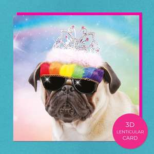 Lenticular 3D Pug In Tiara Birthday Card Front Image