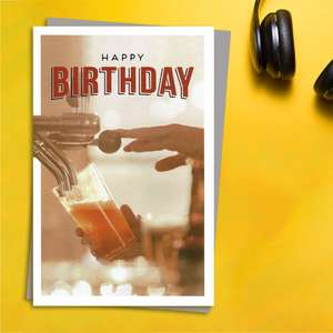 Gentlemen's Gallery - Pulling A Pint Birthday Card Front Image