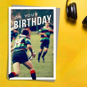 Gentlemen's Gallery - Rugby Game Birthday Card Front Image