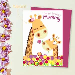 Marzipan - Happy Birthday Mummy Giraffes Card Front Image