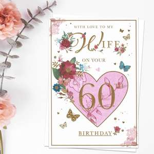 Wife On Your 60th Birthday Floral Heart Card Front Image
