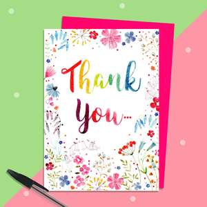 Pink Thank You Card Sitting On The Mantelpiece