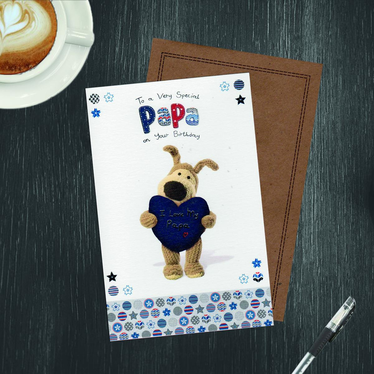 Boofle Papa Card Alongside Its Kraft Envelope