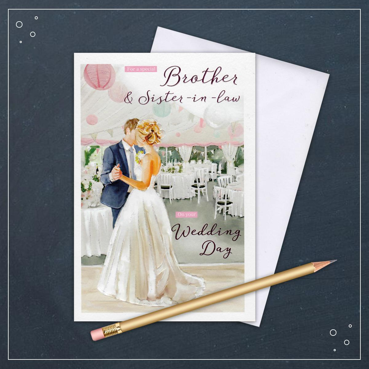 Brother And Sister In Law Wedding Card With Its White Envelope