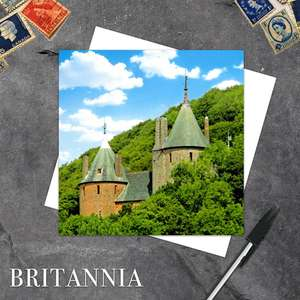 Castell Coch, Wales Blank Card With Its White Envelope