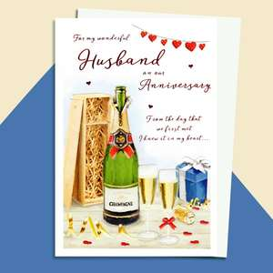 Husband Anniversary Card Alongside Its White Envelope
