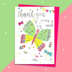 Colourful Butterfly Thank You Card Displayed Full Image