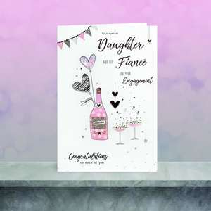 Daughter And Fiancee Engagement Card Sitting On The Shelf