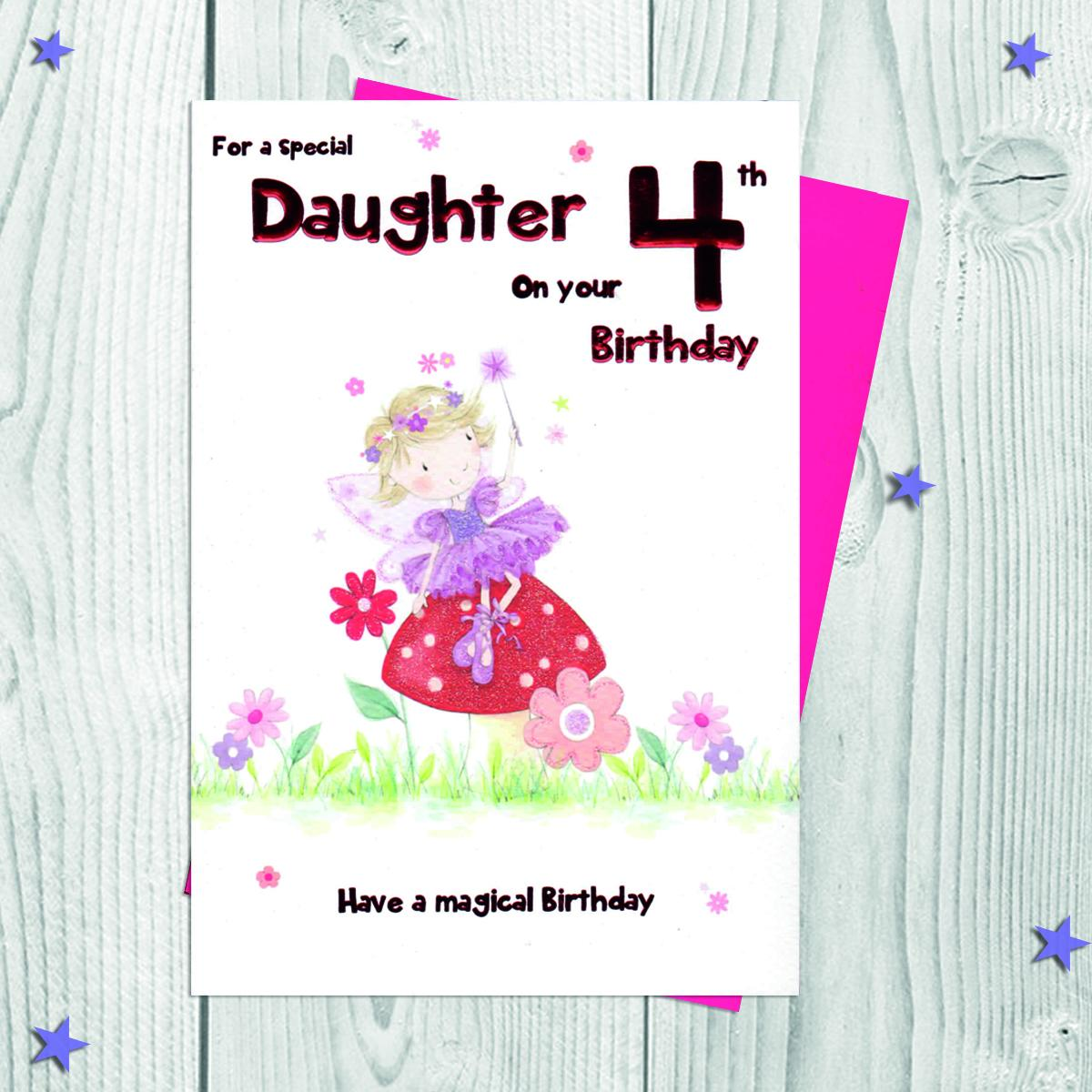 Daughter Age 4 Card Alongside Its Envelope