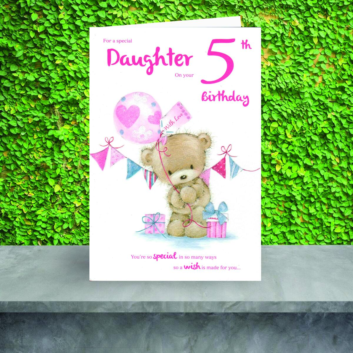 Daughter Age 5 Birthday Card Showcased On The Shelf