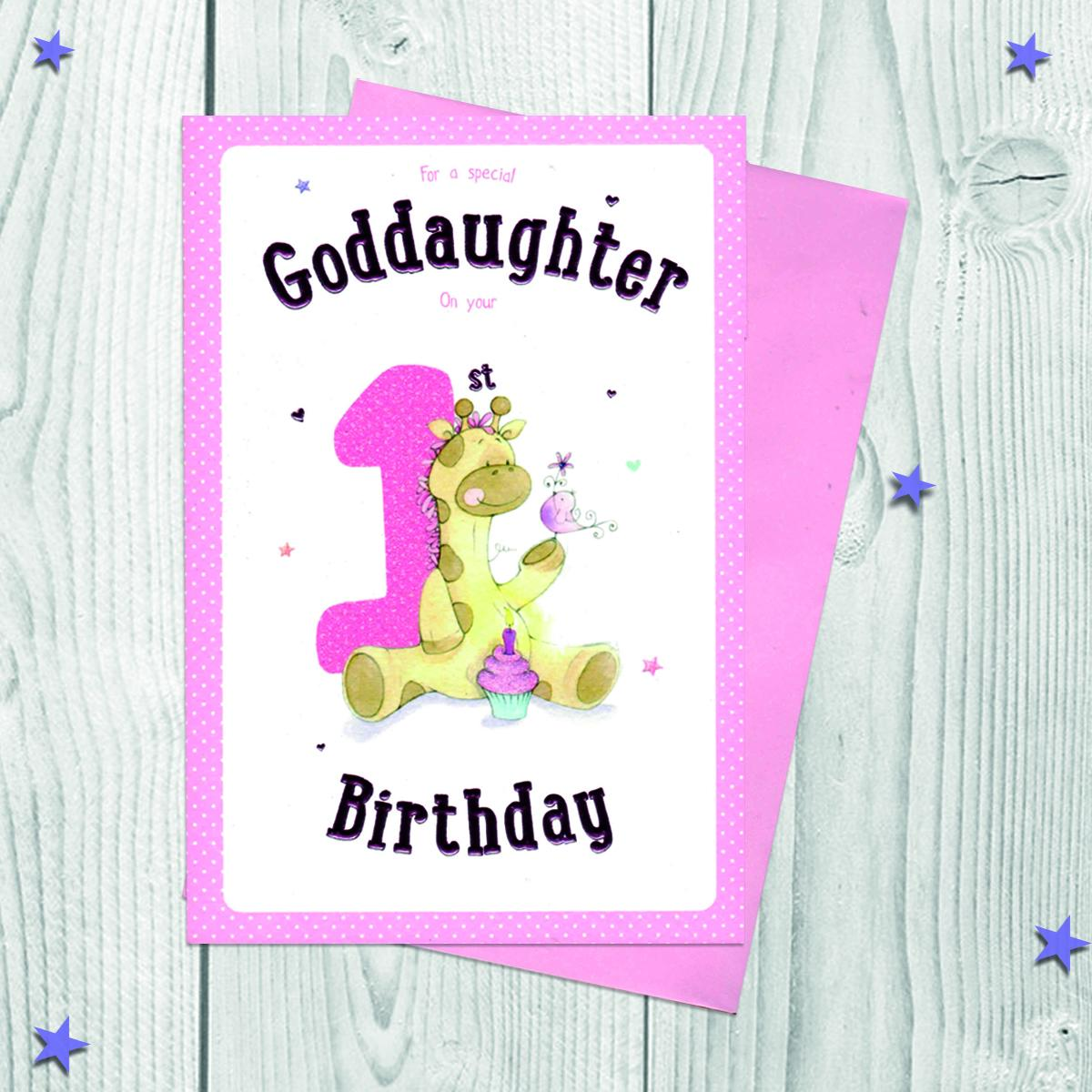Goddaughter Age 1 Birthday Card Alongside Its Pink Envelope