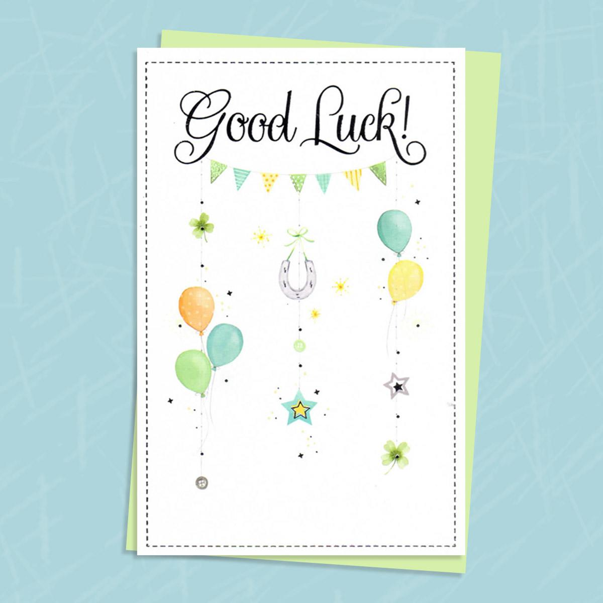 Good Luck Card With Horseshoes And Balloons On It With Envelope