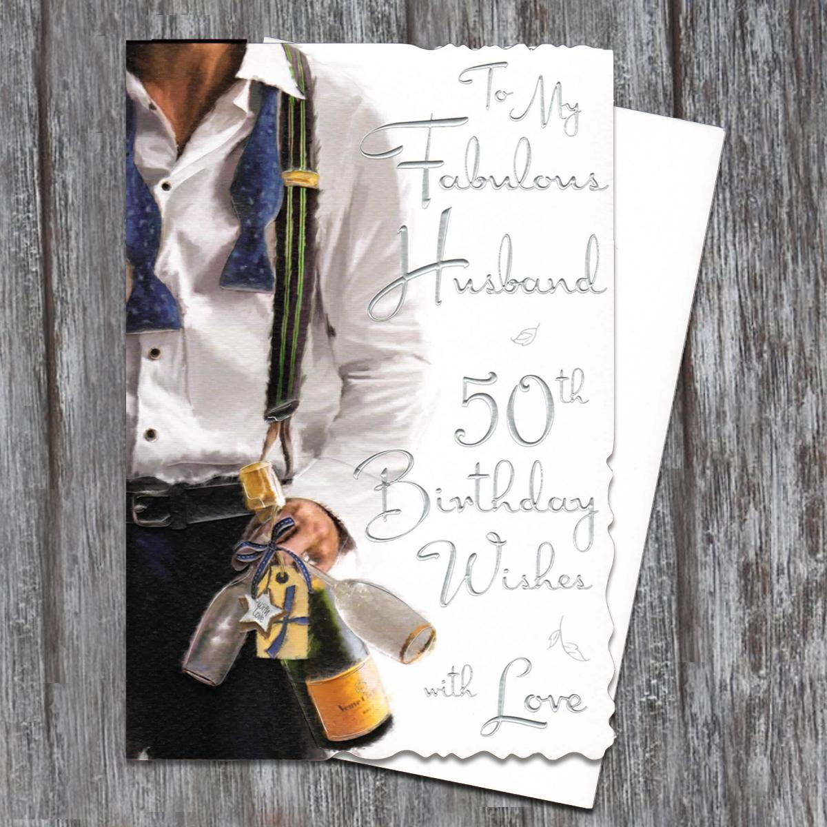 Husband Age 50 Birthday Card Alongside White Envelope