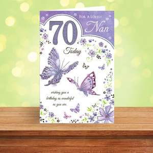 Nan Age 70 Birthday Card Sitting On A Display Shelf