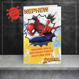Nephew Spiderman Birthday Card Sitting On A Display Shelf