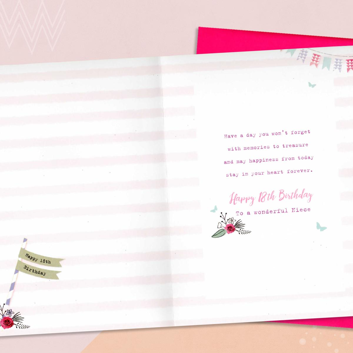 Inside Image Of 18th Niece Birthday Card To Show Layout