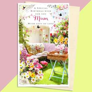 Mum Summer House Birthday Card Sitting On A Display Shelf