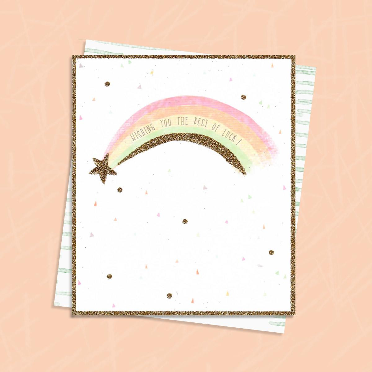 Good Luck Rainbow Greeting Card And Envelope