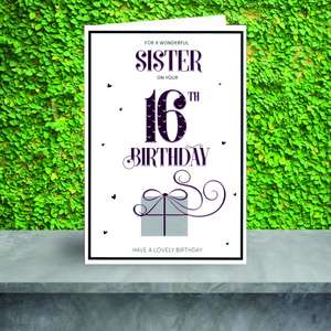 Age 16 Sister Birthday Card Sitting On A Display Shelf