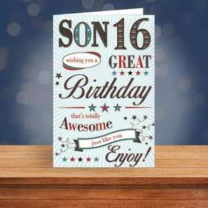 Son Age 16 Birthday Card Sat On A Display Shelf