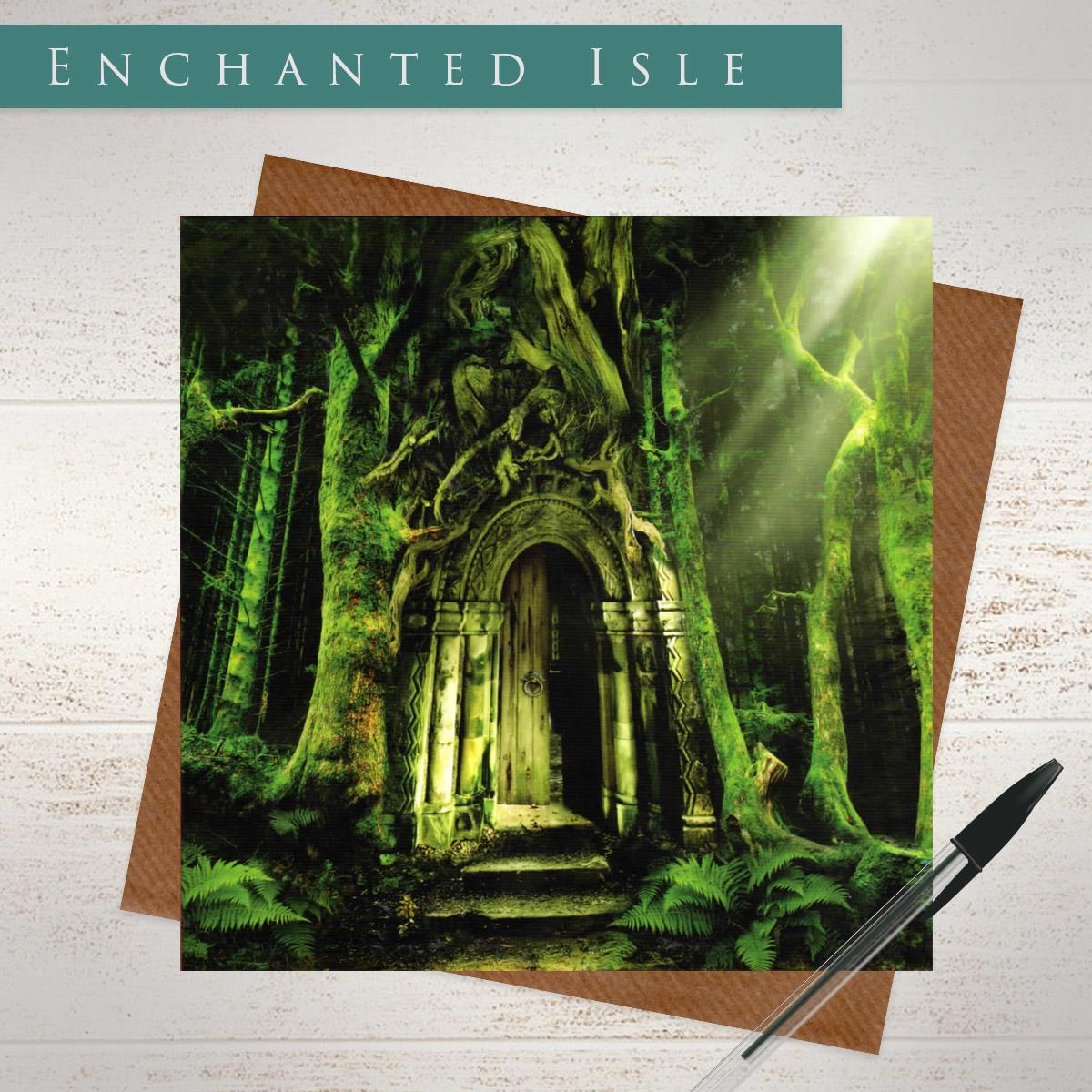 Emerald Forest Blank Gothic Card Alongside Its Envelope
