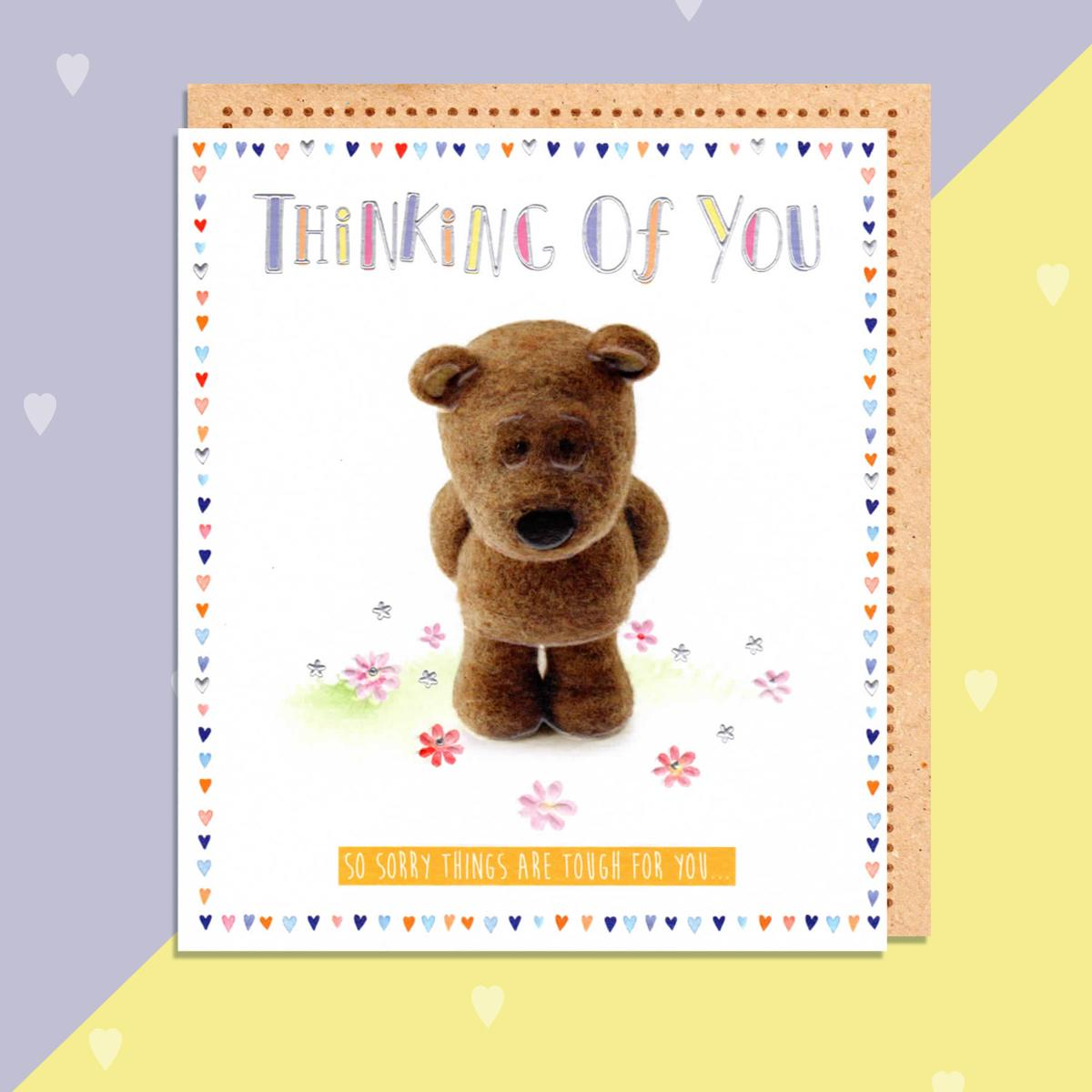 Thinking Of You Barley Bear Card Sitting On A Display Shelf