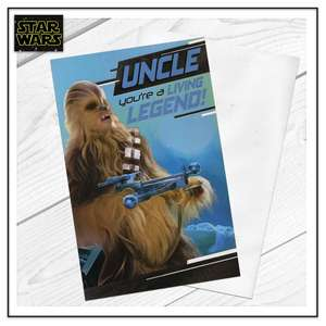 Uncle Star Wars Chewbacca Card Sitting On A Display Shelf