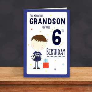 Grandson Age 6 Birthday Card Sitting On A Display Shelf