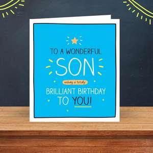 Funny Son Birthday Card Sitting On A Display Shelf