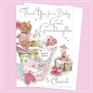Thank You For A Baby Great Granddaughter Card Alongside Its White Envelope