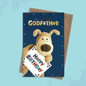 Godfather Boofle Card Alongside Its Kraft Coloured Envelope